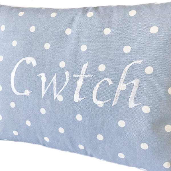 Cwtch Cushion Powder Blue close up