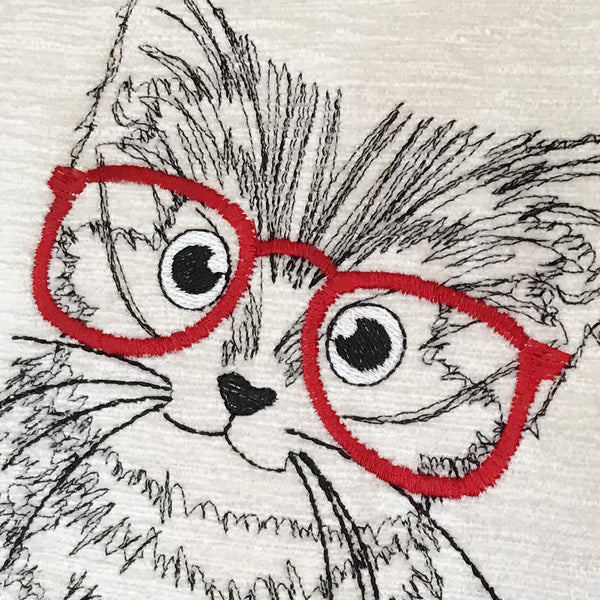 Kitten with Glasses embroidery