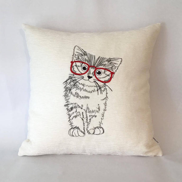 Kitten with Glasses Cushion