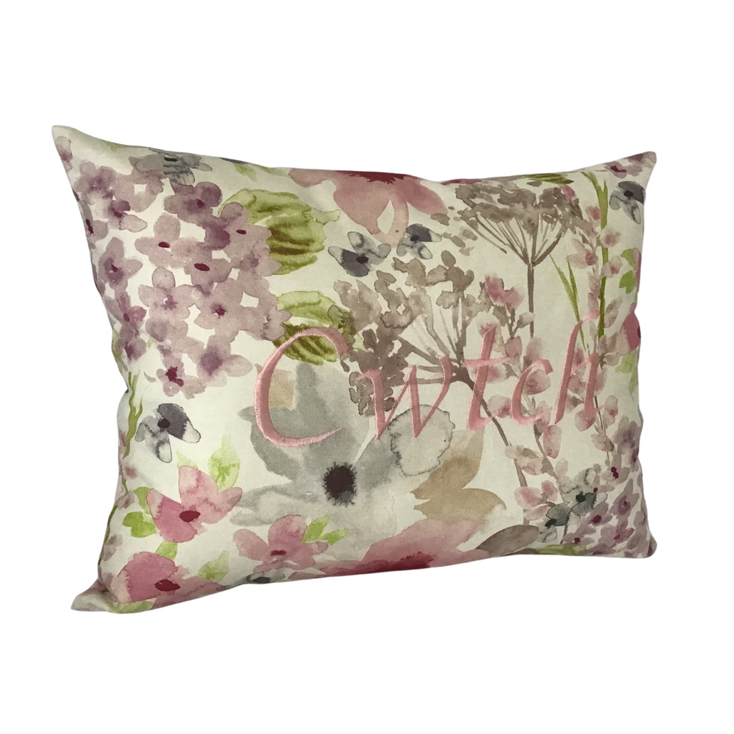 Cwtch Cushion Pastel pink left view