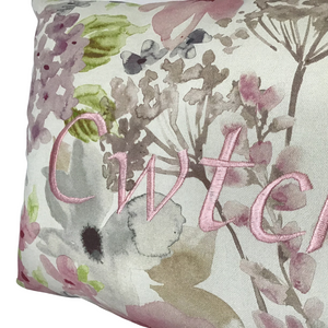 Cwtch Cushion Pastel pink right closeup