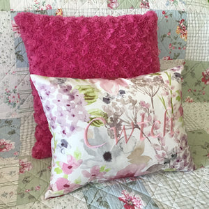 Cwtch Cushion Pastel pink on sofa