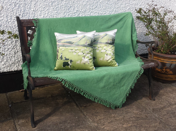 Welsh Hillside Cushions on bench