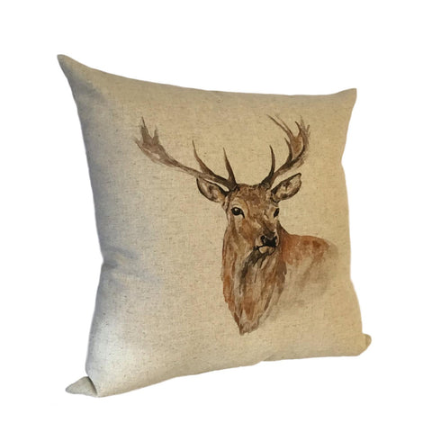 Stag Watercolour Cushion left view