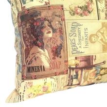 Load image into Gallery viewer, Vintage Soaps Cushion closeup left