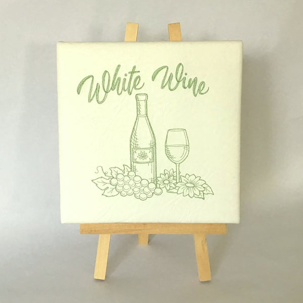 WHITE WINE EMBROIDERED CANVAS