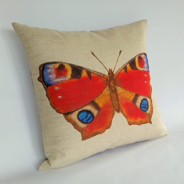Peacock Butterfly Cushion left view