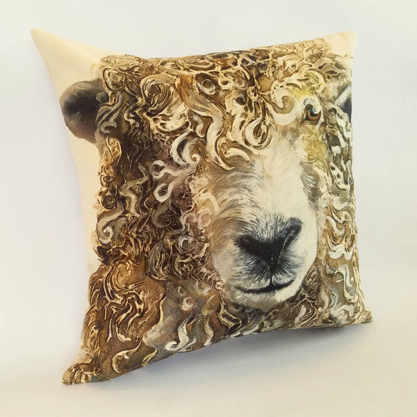 Longwool Ram Cushion left view
