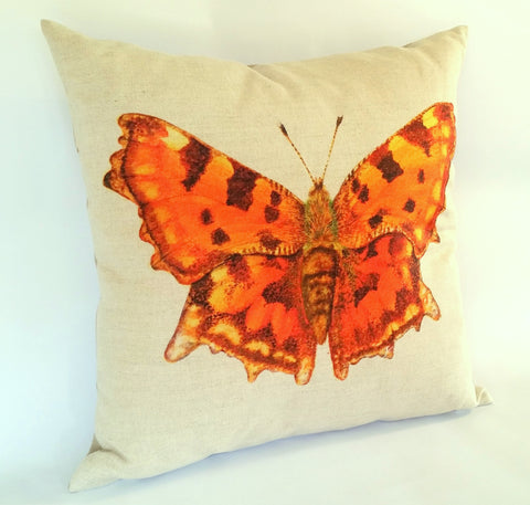 Orange Comma Butterfly Cushion left view