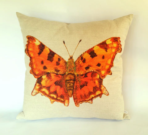 Orange Comma Butterfly Cushion