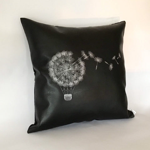 Dandelion Embroidered Cushion left view