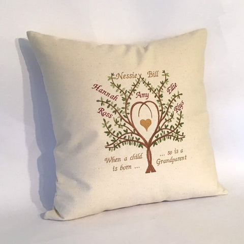 Grandparents Family Tree Cushion left view