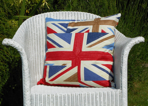 Union Jack Cushion on chair close up