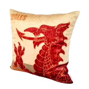 WELSH DRAGON VELVET CUSHION COVER