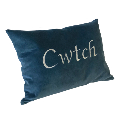 Cwtch Cushion Blue Velvet left view