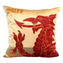 Load image into Gallery viewer, Welsh Dragon Velvet Cushion