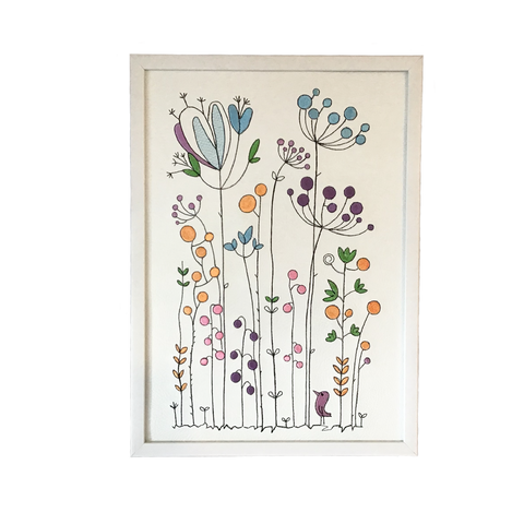 Scandi floral embroidered art framed