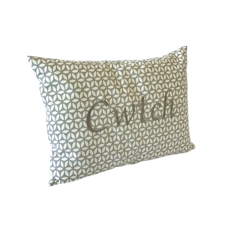 Cwtch Cushion grey daisy left view