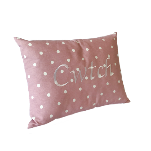 Cwtch Cushion rose pink left view