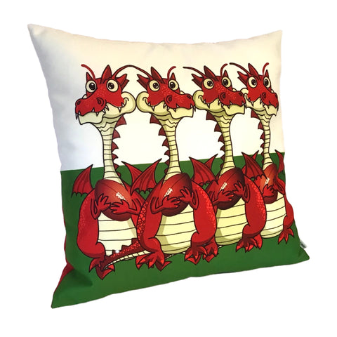 WELSH RUGBY DRAGONS CUSHION COVER
