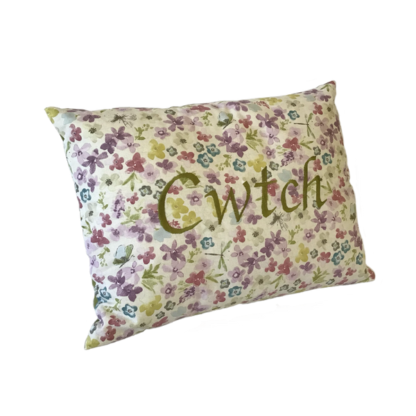 Cwtch Cushion Watercolour Green left view