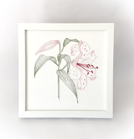 Embroidered Lily Artwork