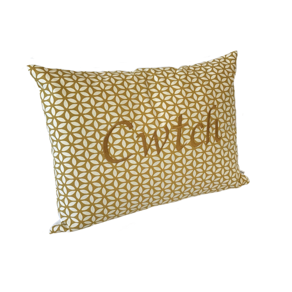 Cwtch Cushion yellow daisy left view