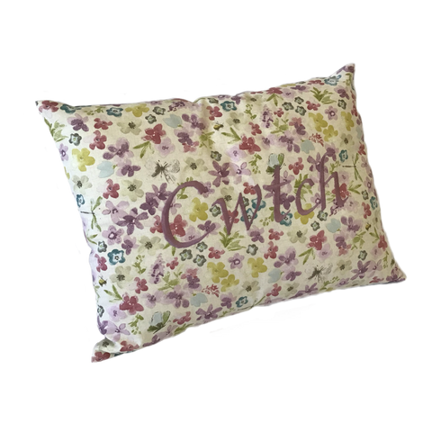Cwtch Cushions Watercolour Lilac left view
