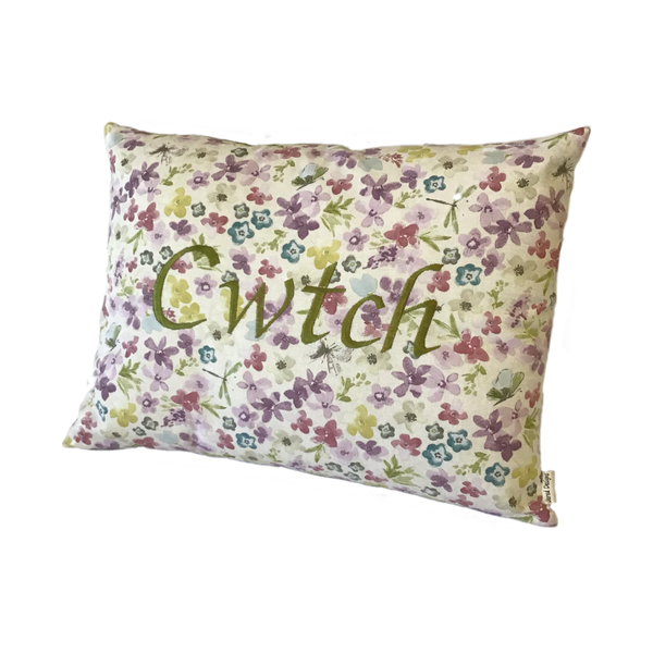 Cwtch Cushion Watercolour Green right view
