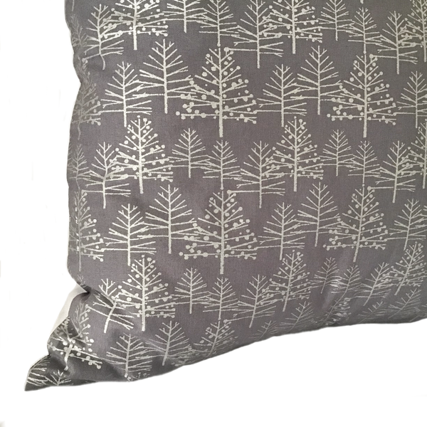 Silver Trees cushion close up