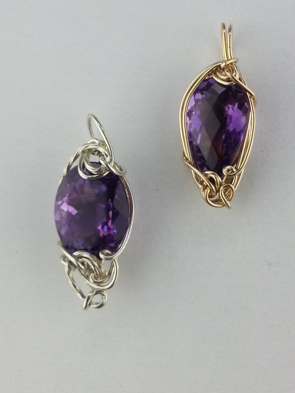 Amethyst Pendants wrapped in Sterling Silver or Gold