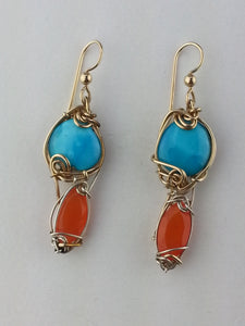 Turquoise and Carnelian Earrings