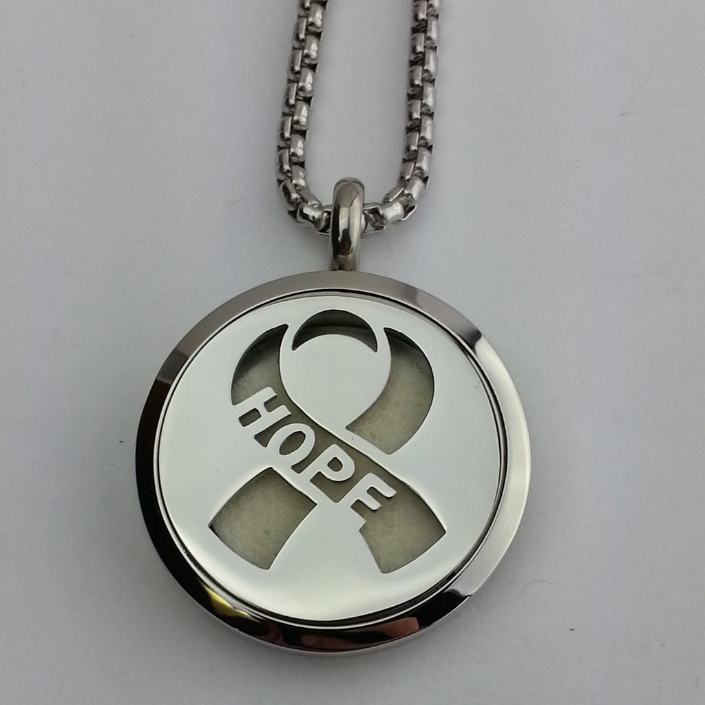 Hope ribbon stainless steel diffuser locket pendant
