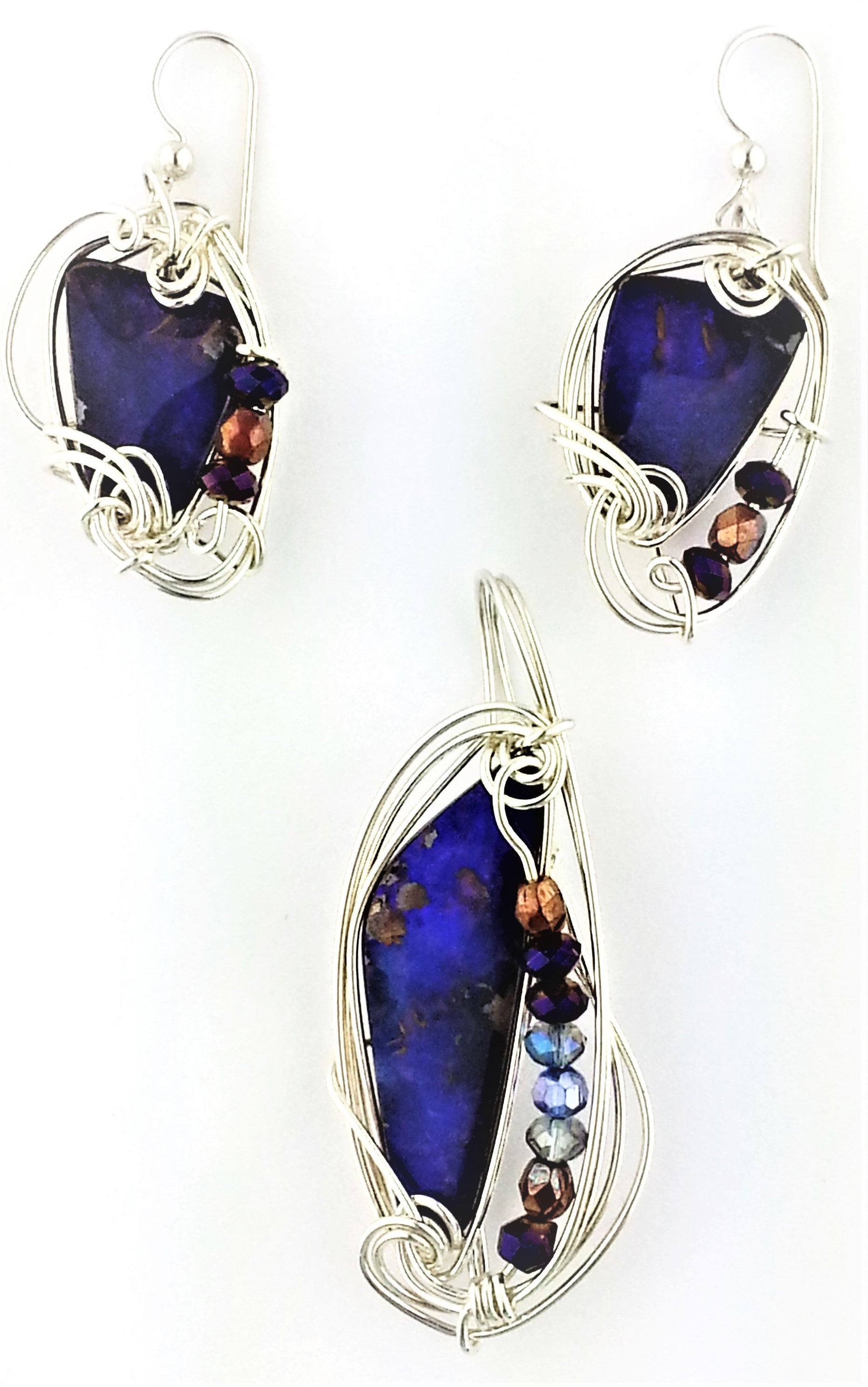 Australian Boulder Opal Earrings and Pendant