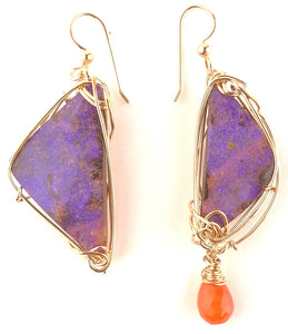 Orange Pastel Boulder Opal Earrings