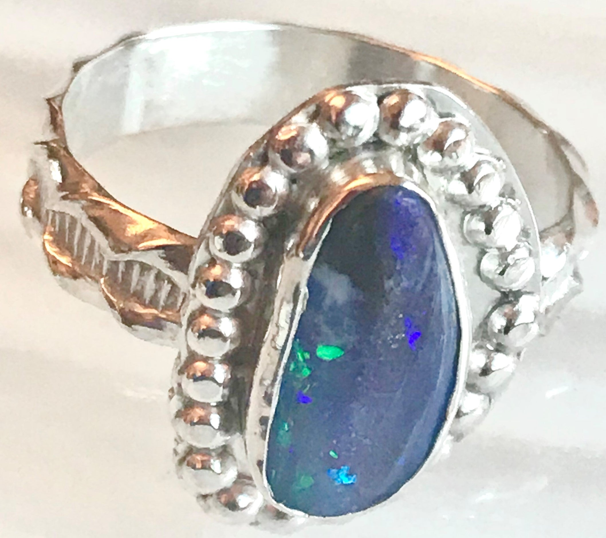 "Boulder Opal and Silver ""DOTS"" Ring"