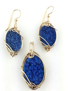 dazzling rich vivid blue drusy quartz jewelry  set in sterling silver or gold