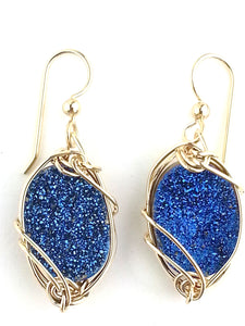 sparkling blue cobalt quartz druzy earrings       with lots of glitz And glitter