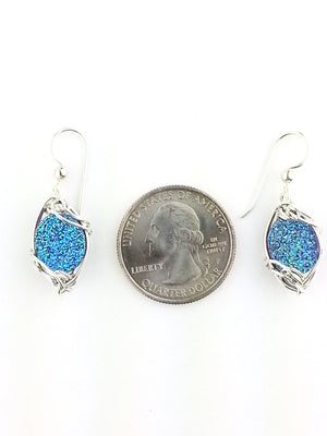 Pretty as a Peacock Druzy Quartz Earrings