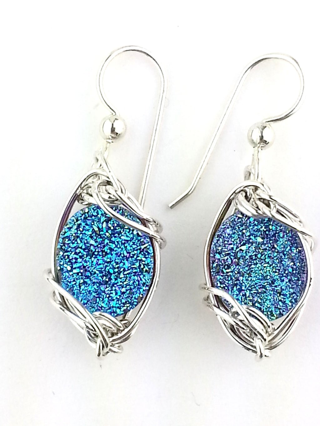 dazzling rich vivid peacock blue druzy quartz  earrings in sterling silver or gold