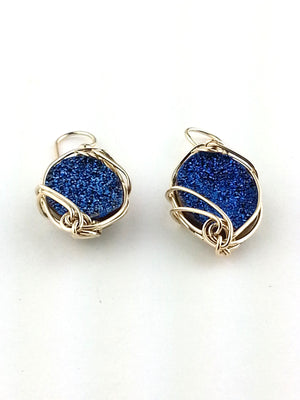 Glitzy Druzy Cobalt Quartz Earrings in Sterling or gold