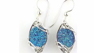 iridescent  blue cobalt druzy quartz earrings in sterling silver