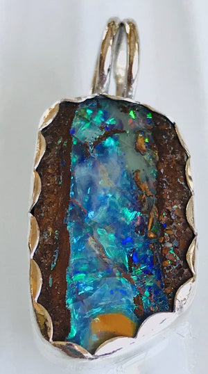 "Boulder Opal Pendant, ""A River Runs Through It"""