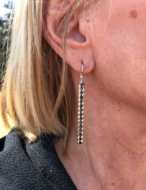 Sleek Sterling Silver Dangling Bar Earrings