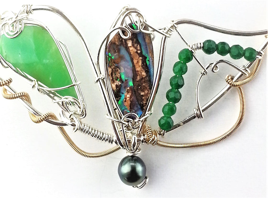 Australian Boulder Opal enhanced with black pearl and green stone set in mixed metals of sterling silver and gold filled