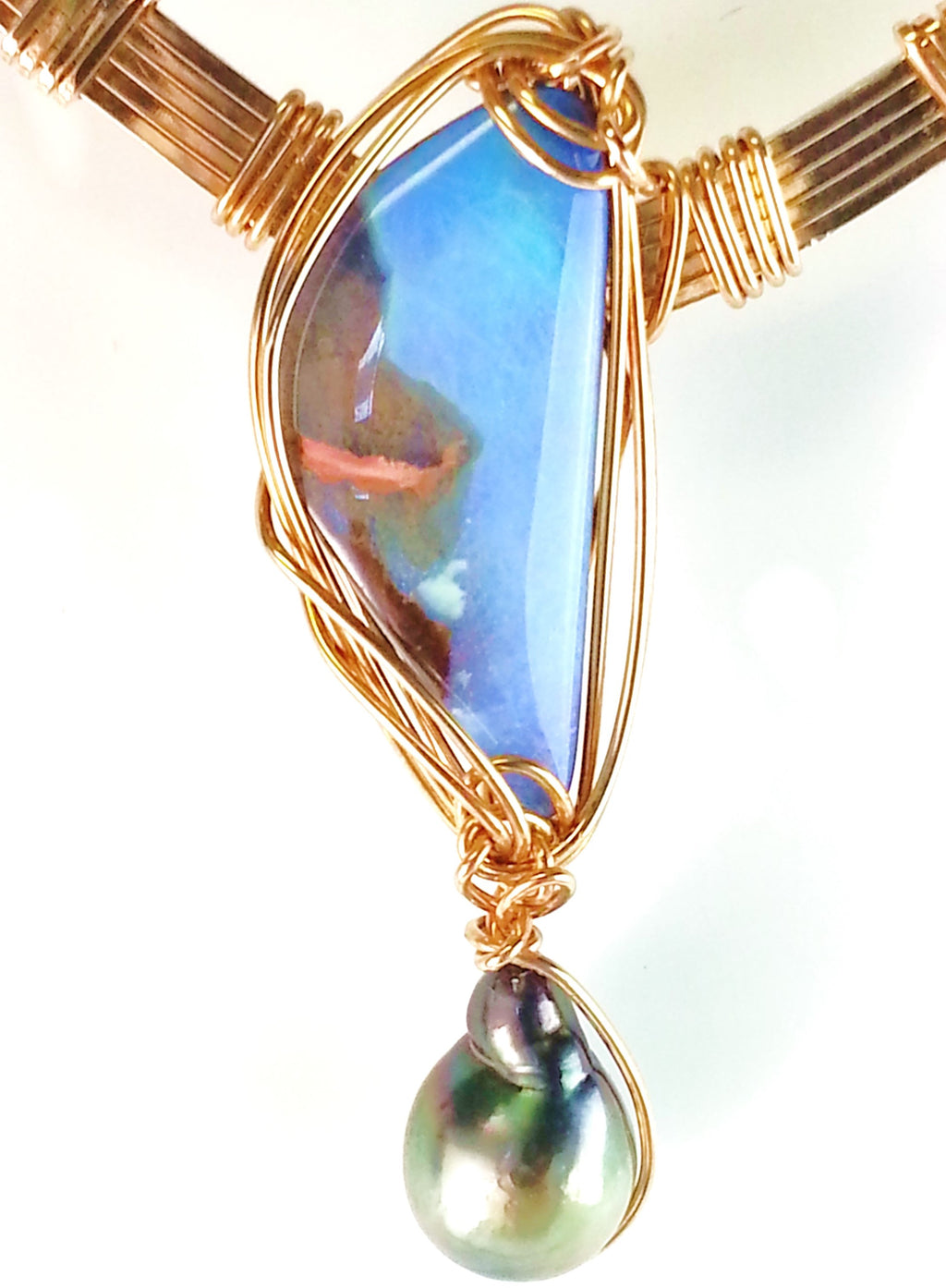 Australian Boulder Opal Necklace with Black Pearl