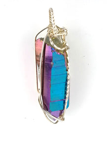 iridescent  blue and purple cobalt quartz wand shaped natural crystal pendant  available in silver or gold