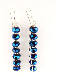 simple iridescent blue bead dangling earrings