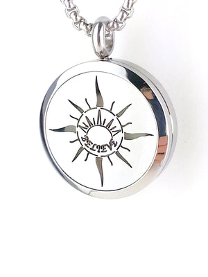 Stainless steel essential oil diffuser necklace locket with Sunrise Believe.
