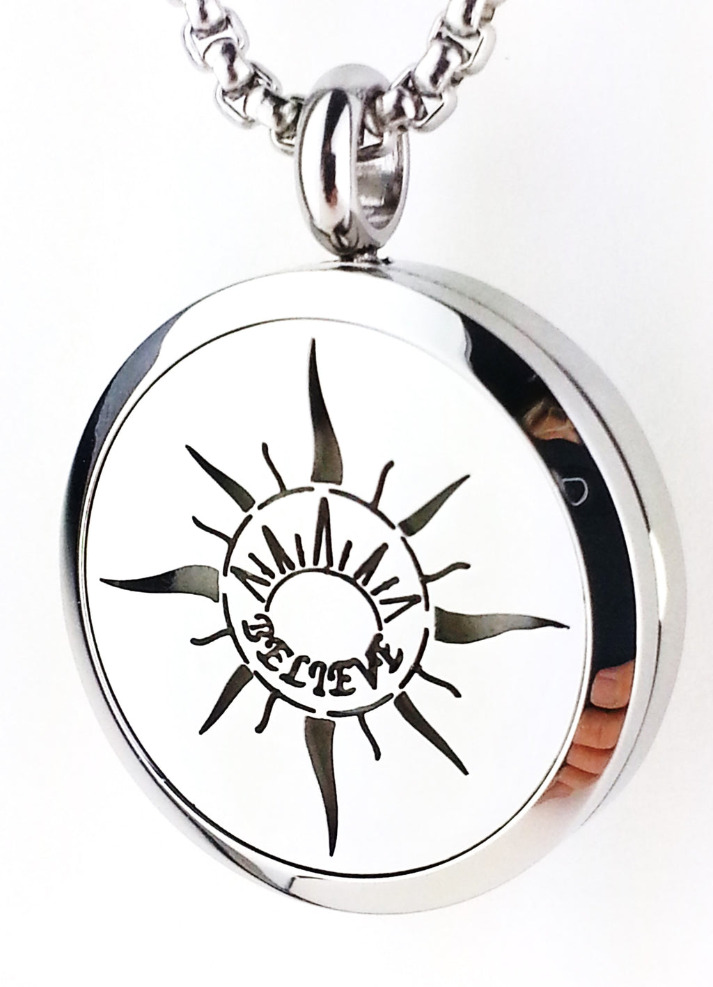 Sunrise Believe essential oil diffuser necklace from Earth in Wire